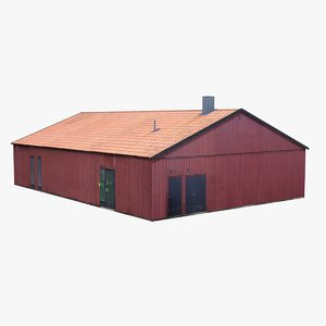 3D red wooden building