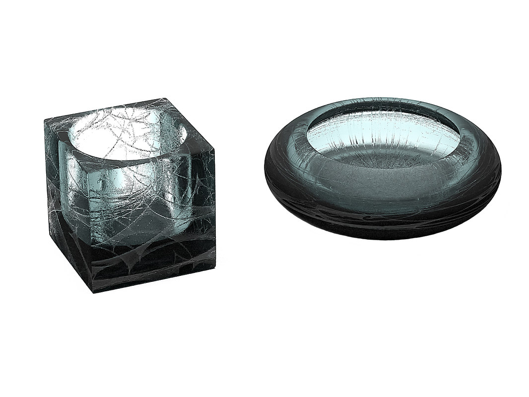 3D ashtray glass ash