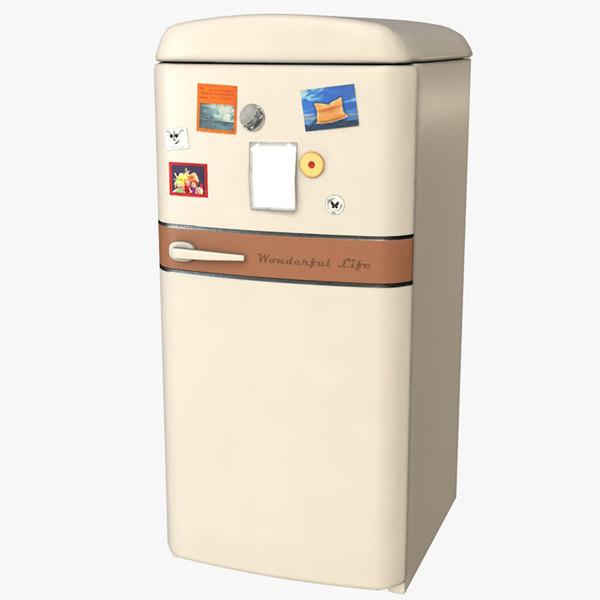 classic vintage fridge 3D