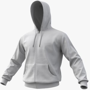 realistic white hoodie 01 3D model