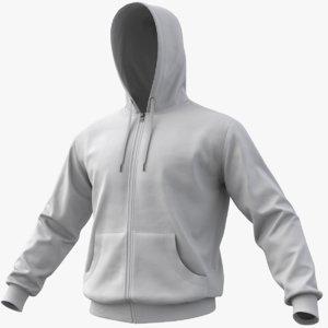 realistic white hoodie 01 3D model