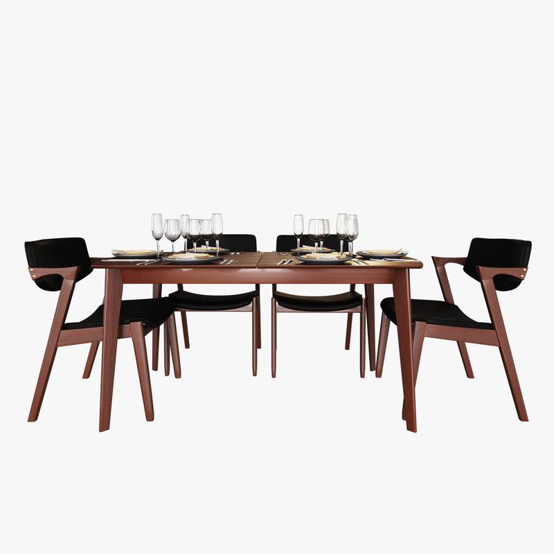 modern table chair 3D model