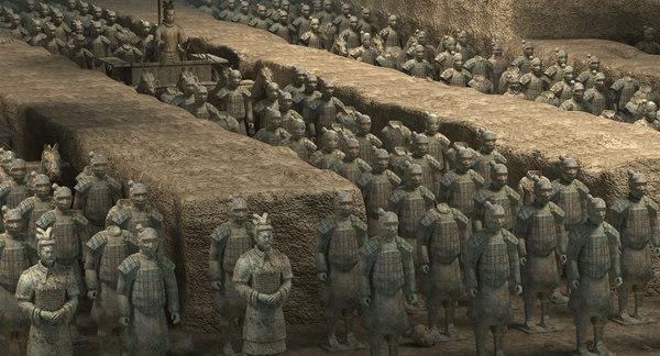 3D model terracotta warriors scene