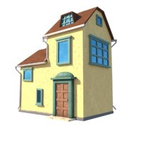 3D model english village yellow house materials