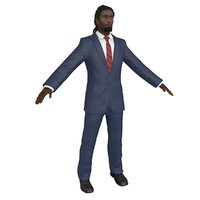 3D businessman body head