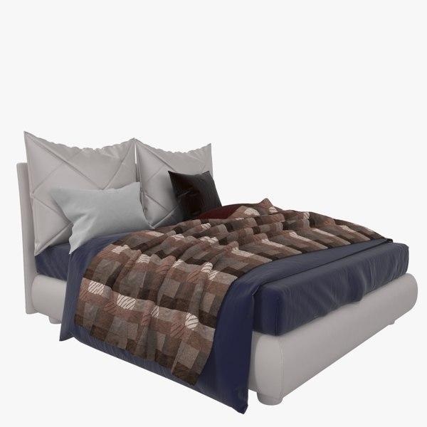 3D model bed twils blanca deco