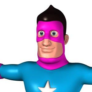 3D cartoon superhero man model