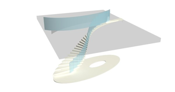 3D spiral staircase architectural model