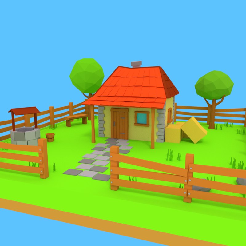 cartoon farm house yard 3D