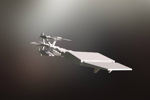 3D low-poly spaceship model