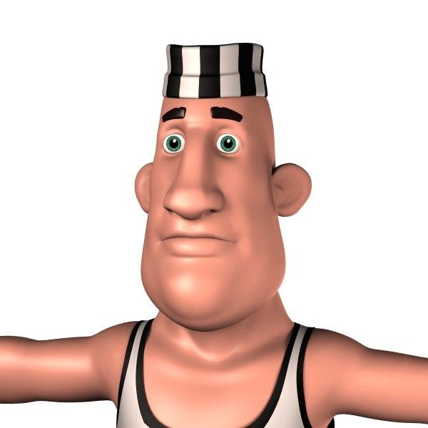 cartoon prisoner man 3D model