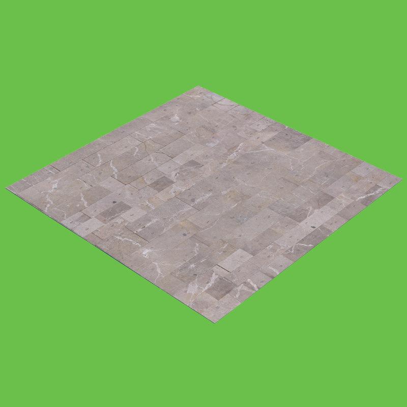 3D model gray tiled floor