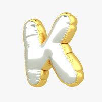 3D k balloon letter