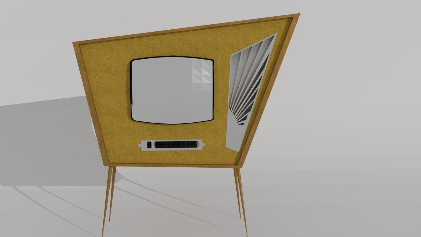 3D 70s retro tv model