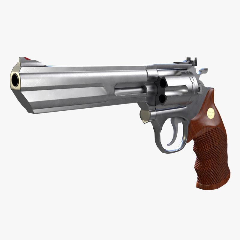 colt python magnum revolver 3D model