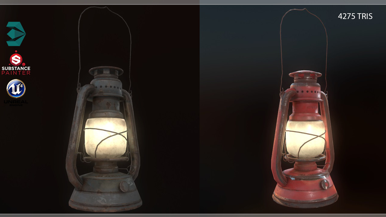3D old lantern lamp pbr