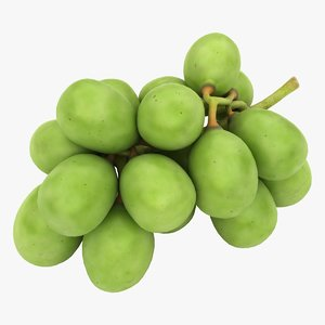realistic green grapes 3D model