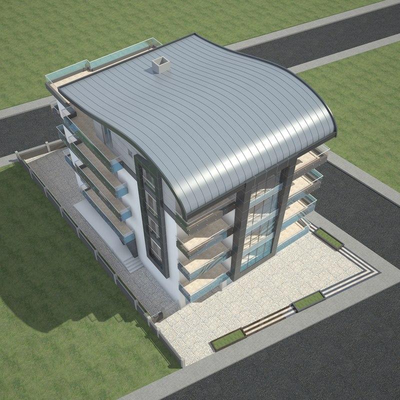 3D modern apartment building roof model