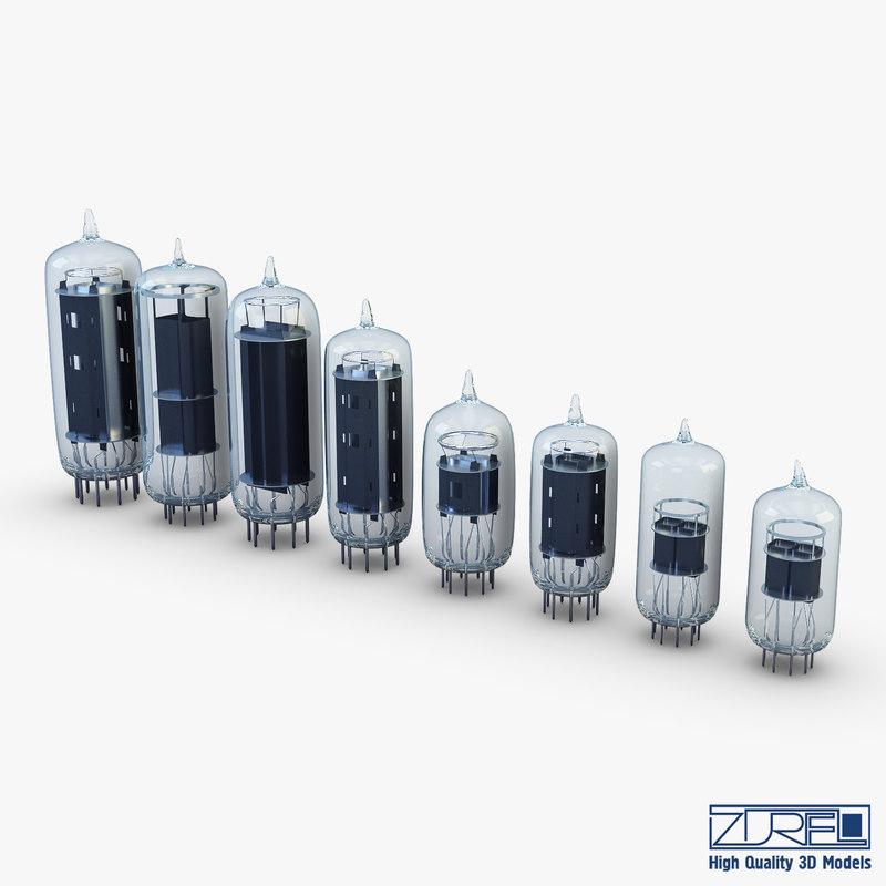 vacuum tubes set 3D
