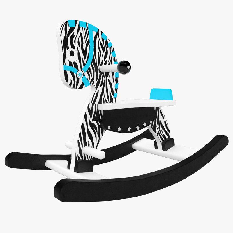3D horse rocking zebra model