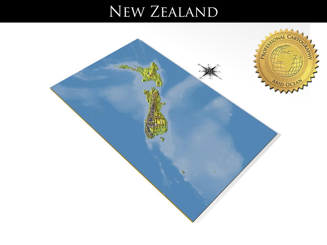 3D model new zealand resolution relief maps
