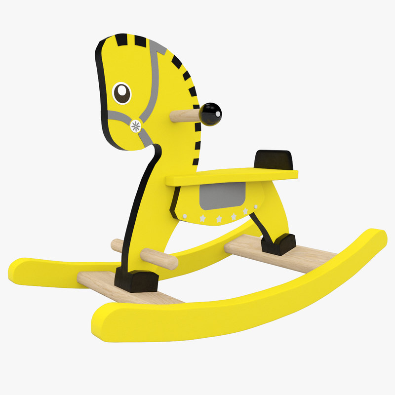 horse rocking yellow 3D