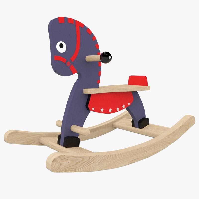 3D horse rocking navy