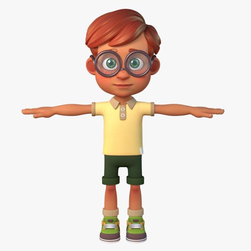 3D boy cartoon model