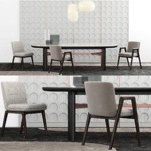 minotti lance chair set model