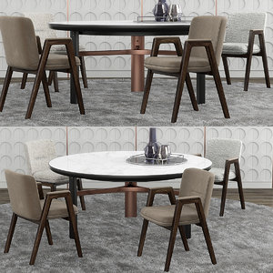 3D model minotti lance chair set