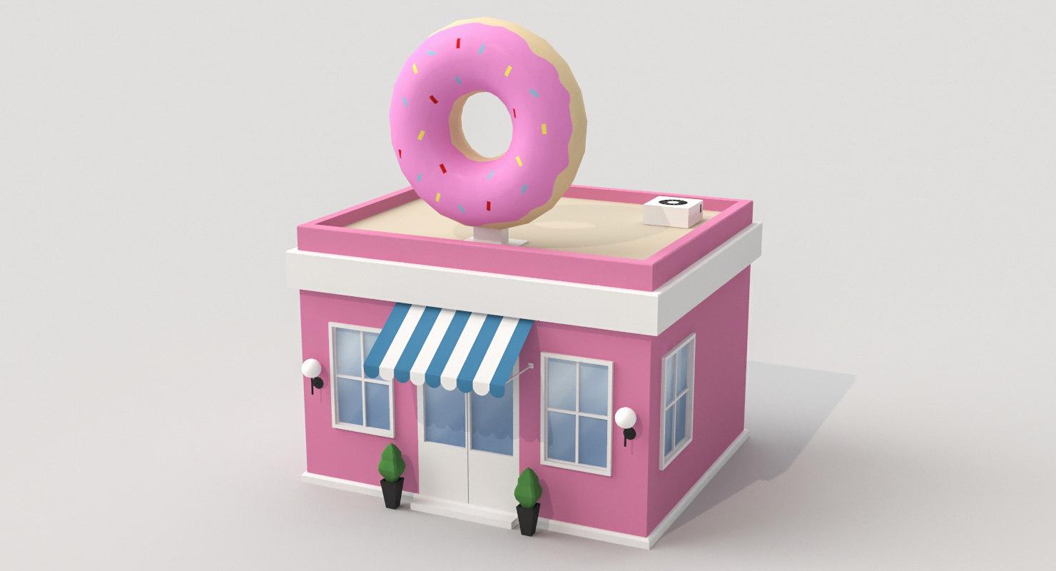 cartoon donuts shop 3D model