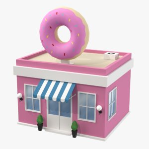 cartoon donuts shop 3D model