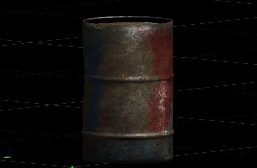3D modern barrel rusty model