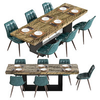 3D model set solid wood table