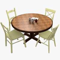 3D vintage table chairs