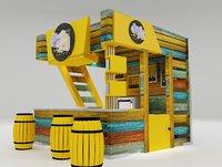 3D kiosk partition booth model