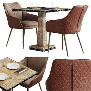 set chrissy pu chair 3D model