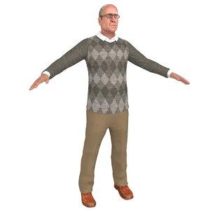 3D old man