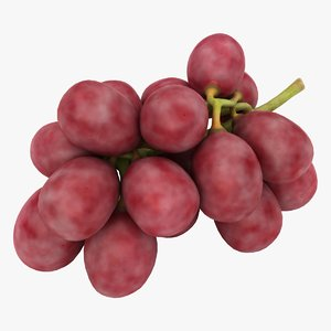 realistic red grapes 3D model