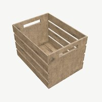 3D slatted wood crate