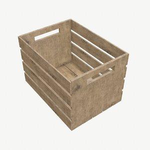 3D slatted wood crate