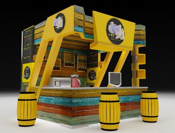 3D model kiosk partition booth