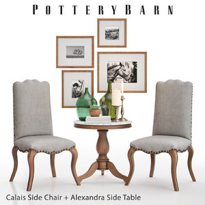 pottery barn calais chair 3D