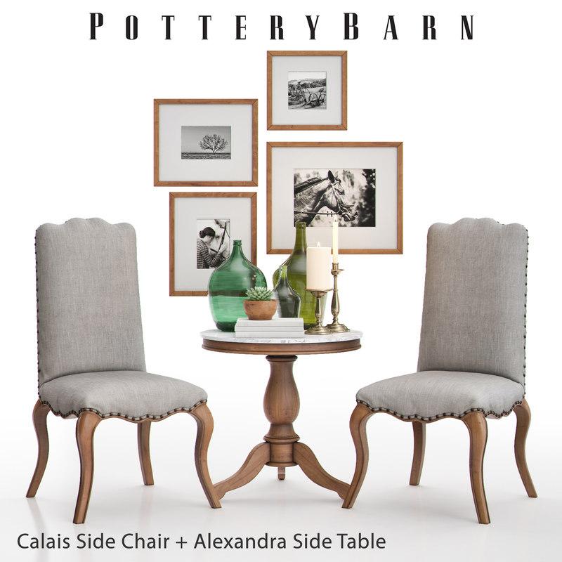 pottery barn calais chair 3D