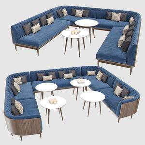 banquet seating 001 sofa 3D model