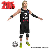 3D model basketball player partizan ball