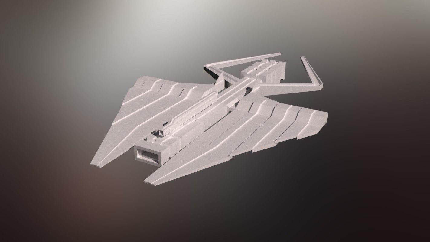 3D model sci-fi war spaceship