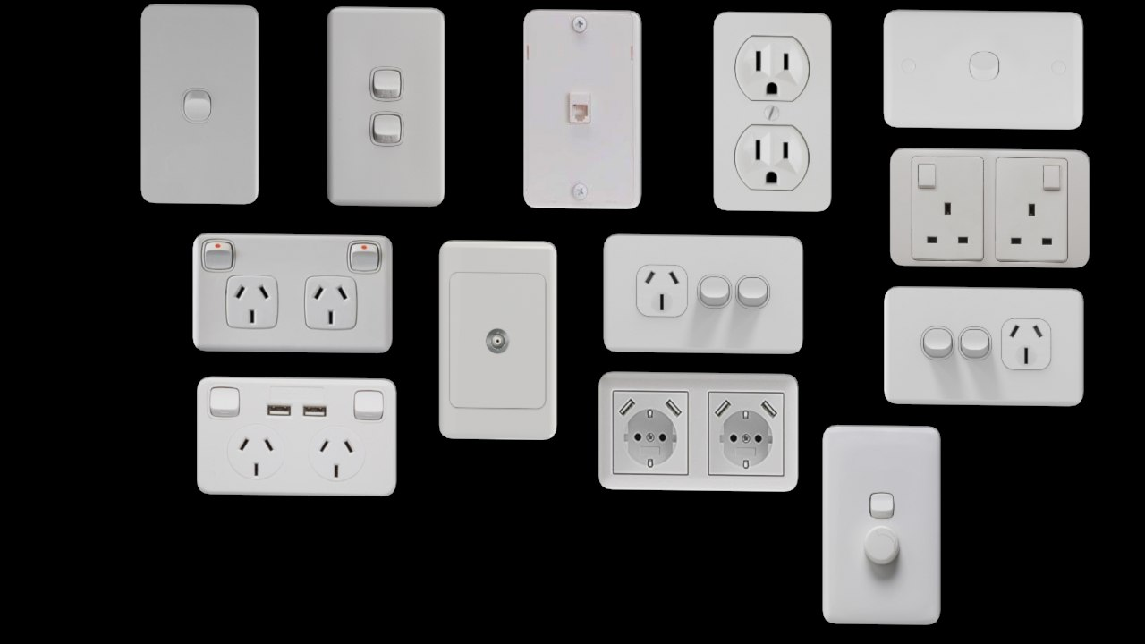 3D power outlets wall plate model