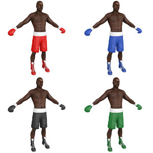 pack boxer man 3D model