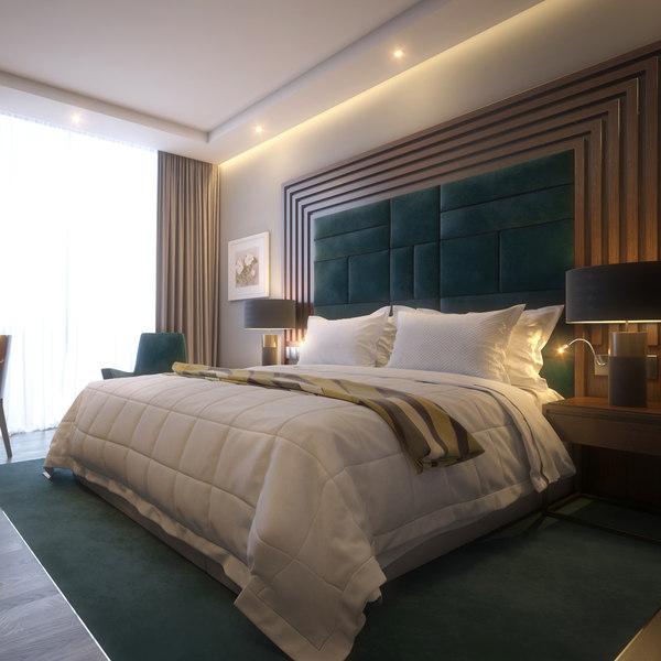 standard hotel room scene 3D